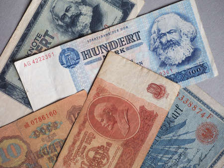 Vintage withdrawn banknotes of Soviet Union, German Democratic Republic and German Empire