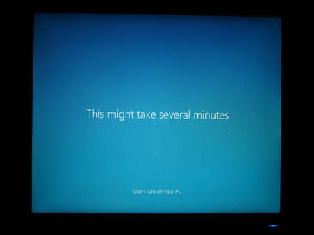 REDWOOD, USA - CIRCA FEBRUARY 2019: Timelapse showing upgrade from Microsoft Windows 7 to Windows 10. Although many PCs still run Win 7, support will end Jan 20 forcing users to migrate to stay safe