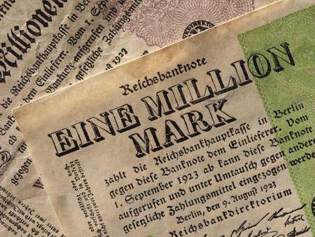 Eine und Zwei Million Mark (meaning One and Two Million Mark) year 1923 banknotes inflation money from Weimar Republic