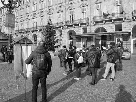 TURIN, ITALY - CIRCA DECEMBER 2018: Banda del Roero marching band in black and white Banco de Imagens - 119031688