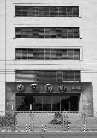 TURIN, ITALY - CIRCA SEPTEMBER 2018: Fiat Chrysler Automobiles (FCA) Mirafiori car factory for Fiat, Lancia, Alfa Romeo, Jeep and Abarth brands in black and white Editorial