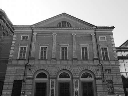 ALBA, ITALY - CIRCA FEBRUARY 2019: Teatro Sociale (meaning Social Theatre) Giorgio Busca in black and white Editorial