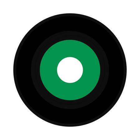 vinyl record vintage analog music recording medium with green label