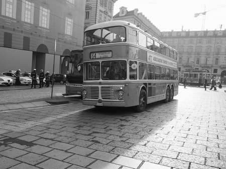 TURIN, ITALY - CIRCA DECEMBER 2018: Red double decker bus Viberti CV61 at Trolley Festival in black and white