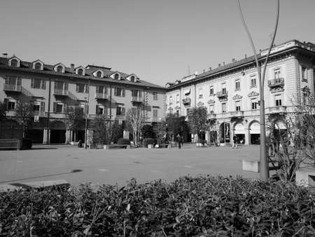 ALBA, ITALY - CIRCA FEBRUARY 2019: Piazza Michele Ferrero (previously known as Piazza Savona) square in black and white