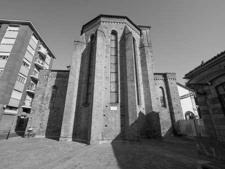 The San Domenico church in Alba, Italy in black and white Imagens