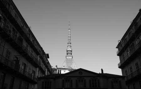 The Mole Antonelliana building in Turin, Italy in black and white Banco de Imagens