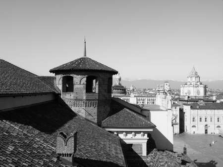 Aerial view of the city of Turin, Italy in black and white
