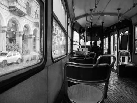 TURIN, ITALY - CIRCA NOVEMBER 2018: Vintage tramway public transport carriage in black and white
