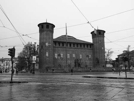 TURIN, ITALY - CIRCA NOVEMBER 2018: The Piazza Castello square in black and white