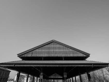 Tettoia Mercato Coperto (meaning Covered Market Shed) in Alba, Italy in black and white