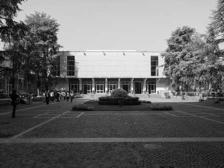 TURIN, ITALY - CIRCA SEPTEMBER 2018: Politecnico di Torino (meaning Turin Politechnic school) great hall in black and white Editoriali