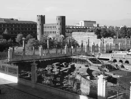 Porta Palatina (Palatine Gate) ruins in Turin, Italy in black and white