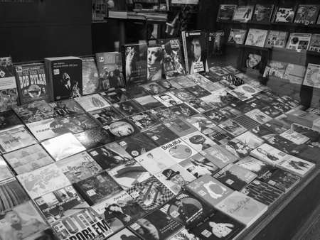 TURIN, ITALY - CIRCA DECEMBER 2018: Record store window in black and white