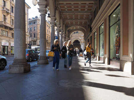 TURIN, ITALY - CIRCA MARCH 2019: People in the city centre