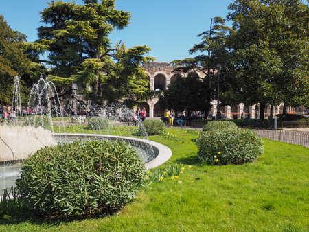 VERONA, ITALY - CIRCA MARCH 2019: Fountain in Piazza Bra square