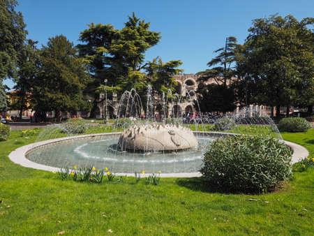 VERONA, ITALY - CIRCA MARCH 2019: Fountain in Piazza Bra square Editorial