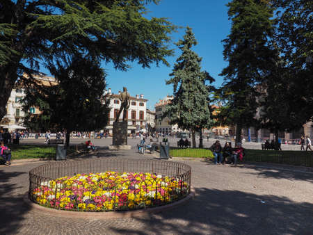VERONA, ITALY - CIRCA MARCH 2019: Piazza Bra square