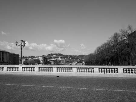 View of River Adige in Verona, Italy in black and white Banque d'images