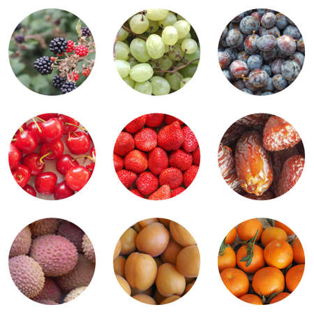 Collage of many types of fruit including blackberry grapes prunes cherries strawberries dates lyches apricots oranges