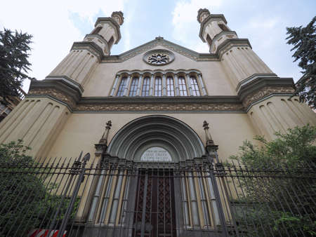 Tempio Valdese (meaning Waldensian Temple) evangelical church in Turin, Italy. Text means Believe in The Lord Jesus, And You Will Be Saved