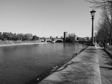 View of River Adige in Verona, Italy in black and white Imagens