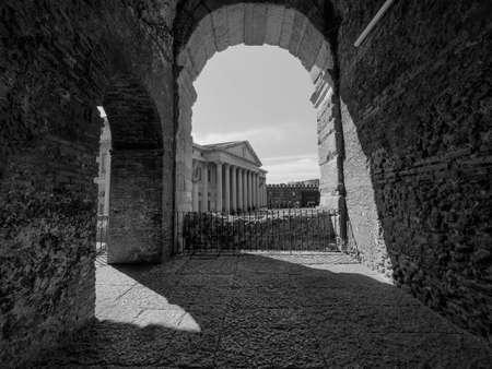 VERONA, ITALY - CIRCA MARCH 2019: Arena di Verona roman amphitheatre in black and white Redakční