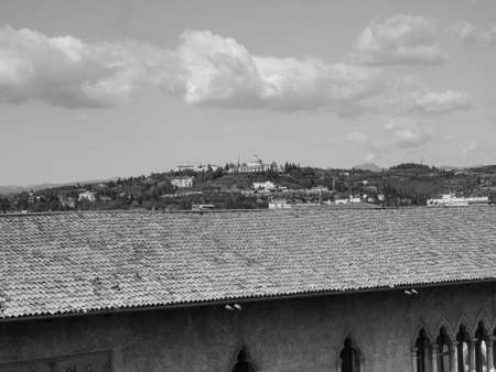 View of the city of Verona, Italy in black and white