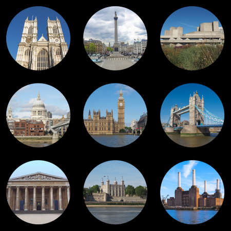 London collage with Westminster Abbey, Trafalgar Square, National Theatre, Saint Pauls Cathedral, Houses of Parliament, Big Ben, Tower Bridge, British Museum, Tower of London, Battersea Power Station