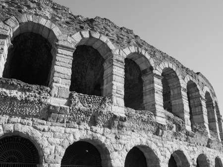 Arena di Verona roman amphitheatre in Verona, Italy in black and white