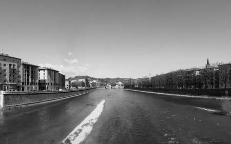 view of the city of Verona, Italy seen from the river in black and white Imagens