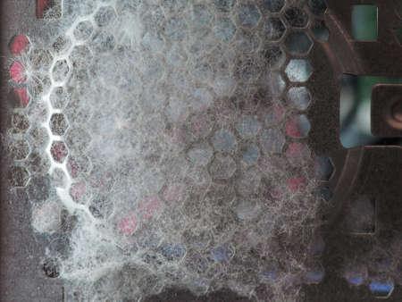 dust and poplar pollen inside a desktop computer case attracted by fan Stock Photo