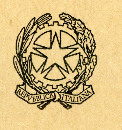 ROME, ITALY - CIRCA MAY 2019: Emblem of the Italian Republic used on official state documents Redakční