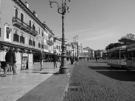 VERONA, ITALY - CIRCA MARCH 2019: Piazza Bra square in black and white