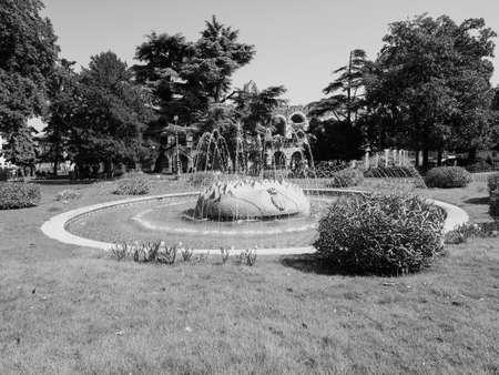 VERONA, ITALY - CIRCA MARCH 2019: Fountain in Piazza Bra square in black and white Editorial