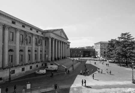 VERONA, ITALY - CIRCA MARCH 2019: Verona city hall in black and white Publikacyjne