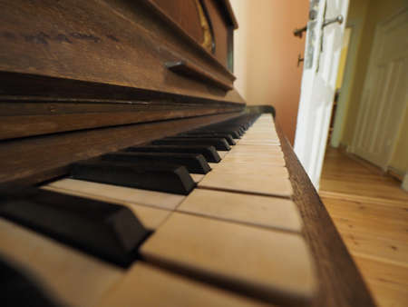detail of piano keyboard keys on vintage instrument Stock Photo
