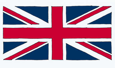 hand drawn national flag of the United Kingdom (UK) aka Union Jack, line art colour filled texturised Reklamní fotografie