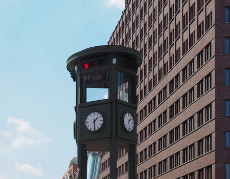 Replica of the oldest traffic light in the world in Potsdamer Platz, Berlin, Germany