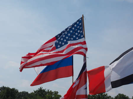 British, Russian and American flags in front of German Bundestag parliament