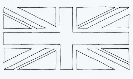 hand drawn national flag of the United Kingdom (UK) aka Union Jack, in black and white line art texturised paper background