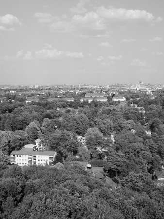 Aerial view of the city of Berlin, Germany in black and white Banco de Imagens