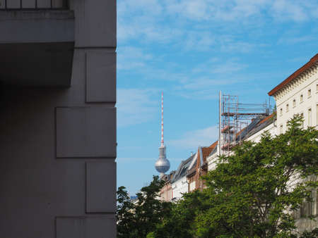 Fernsehturm (meaning Television tower) in Alexanderplatz in Berlin, Germany