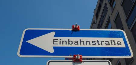 German Einbahnstrasse (meaning One Way) street sign Banco de Imagens