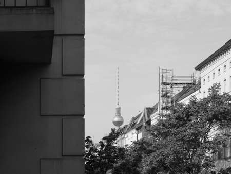 Fernsehturm (meaning Television tower) in Alexanderplatz in Berlin, Germany in black and white