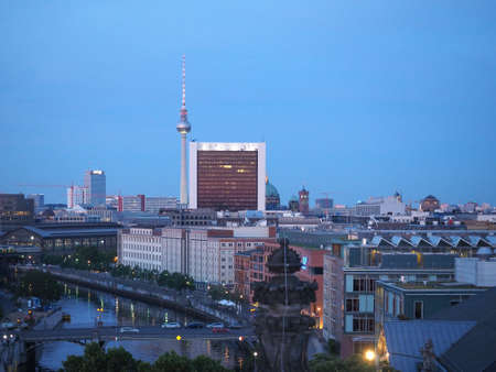 Aerial view of the city of Berlin at night