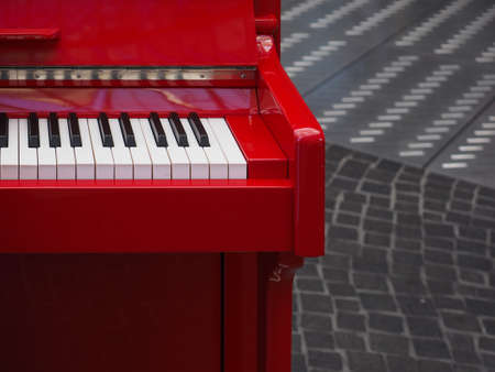 details of a red piano keyboard keys Stock Photo
