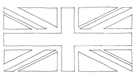 hand drawn national flag of the United Kingdom (UK) aka Union Jack, in black and white line art Reklamní fotografie