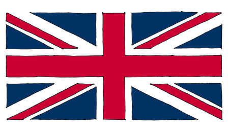 hand drawn national flag of the United Kingdom (UK) aka Union Jack, line art colour filled