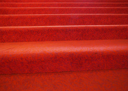 stairs with red carpet fabric useful as a background 스톡 콘텐츠 - 124985630